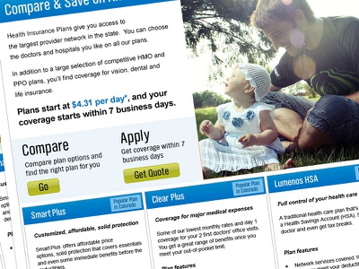 Health Plan Landing Page landing page microsite performance website