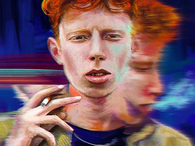 King Krule the ooz oil brush oil paints alla prima smoking glitchy painterly portrait illustration illustraion digital illustration portraiture digitalart portrait digital painting painting archy marshall king krule