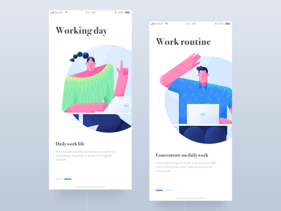 Work 7 - Noise illustration daily ui computer office guide pages work man women charachter design