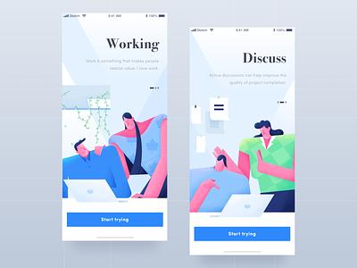 Work 8 - Noise illustration discussion teamwork home page charachter design work man women