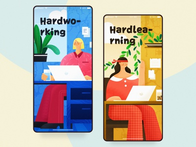 Share Page charachter design vector branding cartoon computer office work working girl