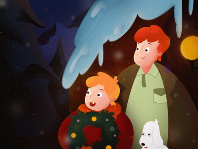 Christmas snowflakes pet snoop dogg decorations garland mountain snow tree light children building design man illustration