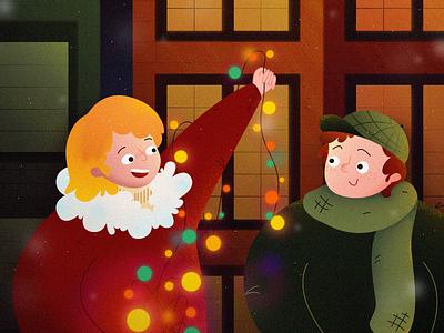 Christmas for the children christmas snowflakes light festival decorations celebration boy girl design building man women illustration