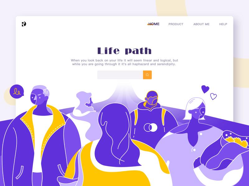 Life path charachter design girl boy people love road life web ui design women man illustration