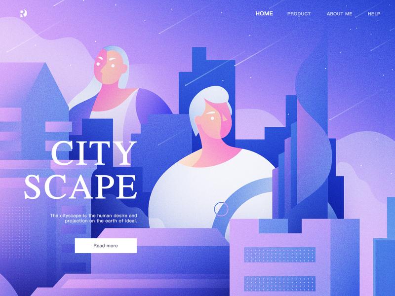 Cityscape people star sky character city charachter design cartoon boy web girl ui building design work women man illustration