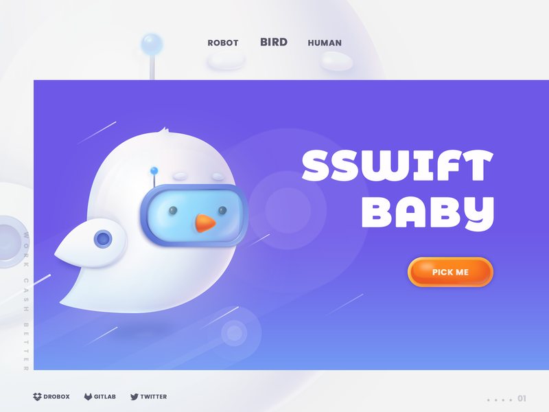 SSWIFT BABY technology robot bird charachter charachter design work logo web ip ui design illustration