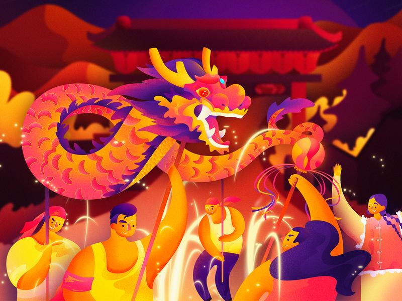 Dragon new year celebrate festival vector character branding charachter design cartoon building ui design women man illustration