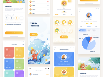 A kids' learning app3 education app education character charachter design boy data cartoon girl work ui design illustration