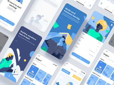 All pages - Educational App study learning education app work design illustration
