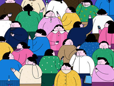 Crowd cartoon boy girl women man charachter design illustration
