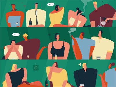 Bar gif people love smoke bar drinking charachter design cartoon man women illustration
