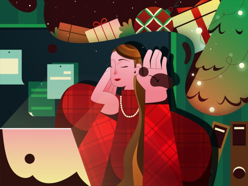 Christmas gift christmas office charachter design cartoon work women