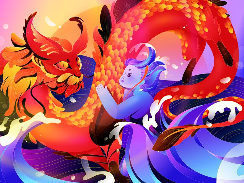 Dragon peace sun happy son dragon new year sea