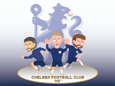 Chelsea Football Club 116th comic art logo illustrator graphic design flat vector illustration design