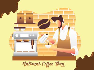 National Coffe Day art illustrator graphic design flat vector illustration design