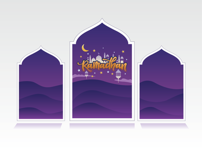 Ramadhan Mubarak is coming typography art illustrator graphic design flat vector illustration design