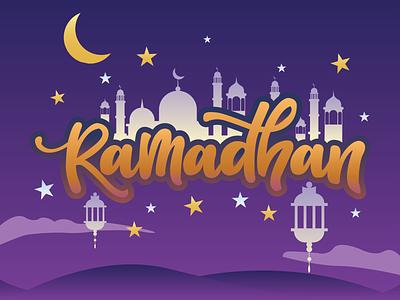Ramadhan Mubarak branding typography art illustrator graphic design flat vector illustration design