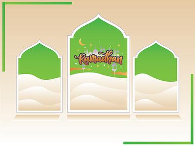 Ramadhan Mubarak is coming comic art typography illustrator graphic design flat vector illustration design
