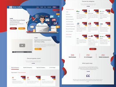 Sinau Coding UI Website flat icon web app graphic design vector typography ux illustration design ui
