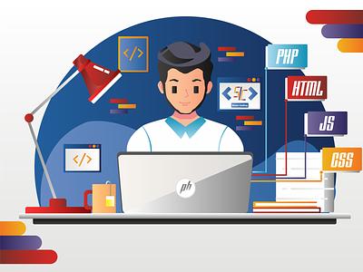 Sinau Coding app ux ui comic illustrator graphic design flat vector illustration design