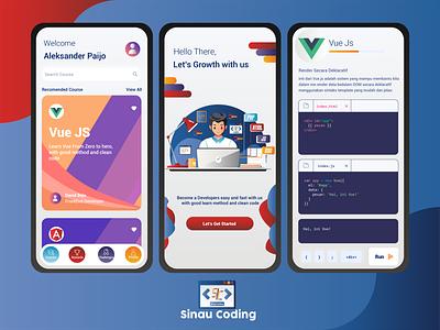 Sinau Coding UI Mobile Design mobile design mobile app mobile ui flat design illustrator graphic design icon app logo ux ui vector illustration design
