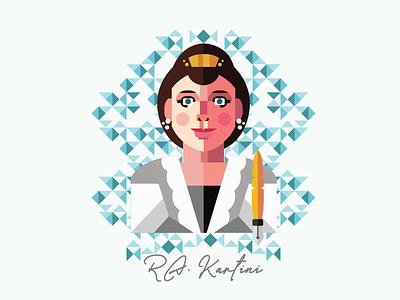 Kartini Day typography comic art illustrator graphic design flat vector illustration design