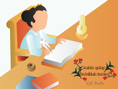 Ra Kartini Habis Gelap Terbitlah Terang typography comic art illustrator graphic design flat vector illustration design