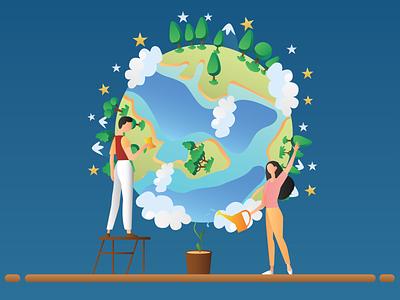Earth Day comic art illustrator graphic design flat vector illustration design