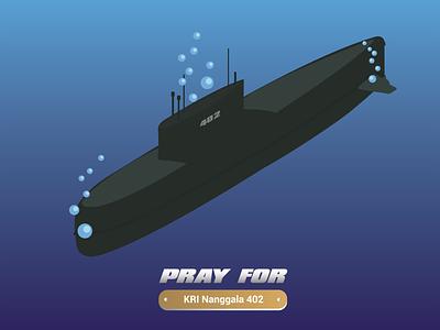 Pray For KRI Nanggala 402 illustrator graphic design flat vector illustration design