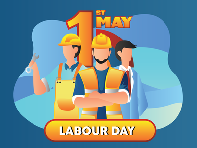 Happy Labour Day comic typography art illustrator flat graphic design vector illustration design
