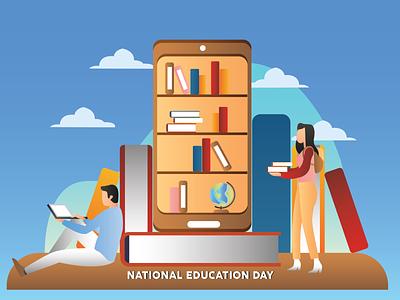 National Education Day comic illustrator graphic design flat vector illustration design