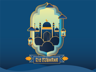 Eid Mubarak art illustrator graphic design flat vector illustration design