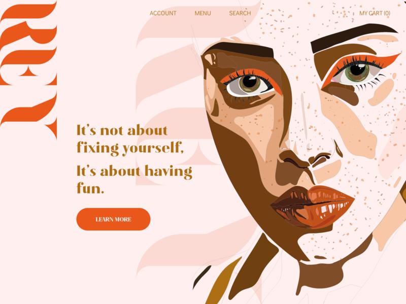 REY Cosmetics illustrator website web vector branding ui design illustration