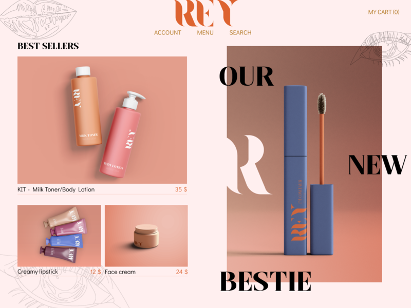 REY Cosmetics art typography website web vector ui illustrator illustration design branding