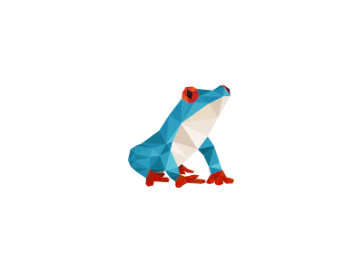 WIP frog frog logo concept polygon colorful blue red white