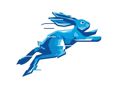 Excessive Retries Rabbit illustration beer tech halftone blue bunny glitch jumping rabbit