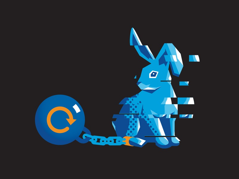 Excessive Retries Rabbit 2 rabbits tech illustration beer icon halftone blue ball and chain retry glitch rabbit
