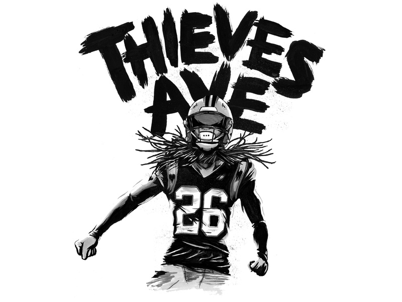 Action Jackson thieves ave player athlete sports black and white maker ink black hand drawn type brush panthers carolina illustration football