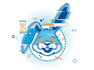 Excessive Retries Rabbit 2 glitch technology logo beer illustration rabbit