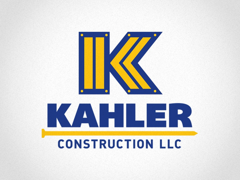 Kahler Construction LLC k small business logo construction contractor type nail blue wood branding identity 401