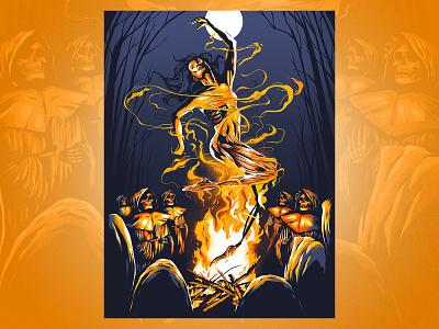 At Long Last print poster face anatomy bones flames fire ritual occult skulls woman ink brush figure illustration