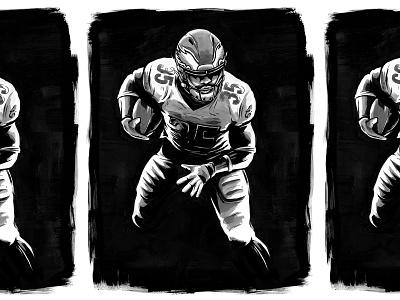Boston TD Party boston scott illustration black and white ink pen brush running back sports miles sanders football eagles philadelphia nfl