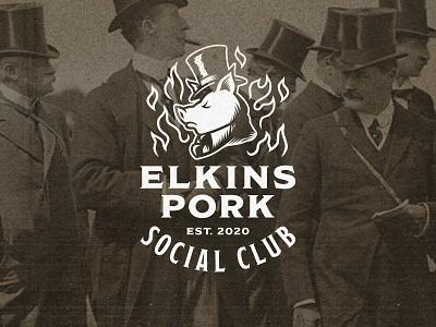 Elkins Pork Social Club 3 fork banner club social fancy luxury top hat pig old timey classic retro butcher bbq pork pennsylvania philadelphia branding design logo