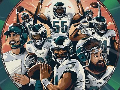 Eagles vs. Falcons Game Day Poster players atlanta texture brush football falcons game day poster illustration nfl eagles philadelphia