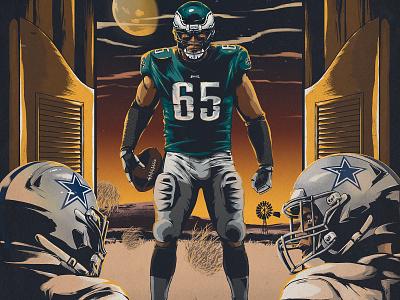 Eagles vs. Cowboys design lane johnson players helmets saloon wester texas stadium illustration sports nfl poster football cowboys eagles