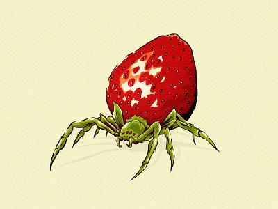 mmmmm another strawberry! surreal illusion digital brush ink halloween inktober illustration strawberry spider