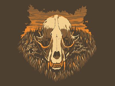 The Raccoon art print brown woods forrest raccoon illustration screen print skull