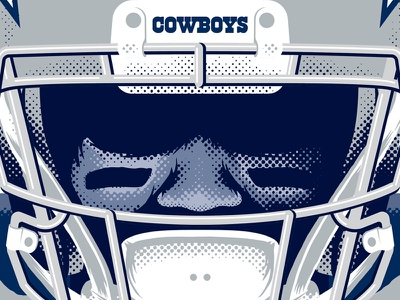 Dallas Cowboys half tone illustration star miller lite stadium facemask helmet beer cowboys football nfl