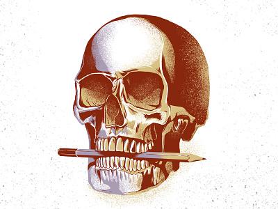 Skull HB texture digital pencil illustration skull