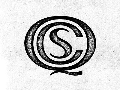 QCS ryan lynn qcs type letters distressed rough texture white black initials monogram stamp logo
